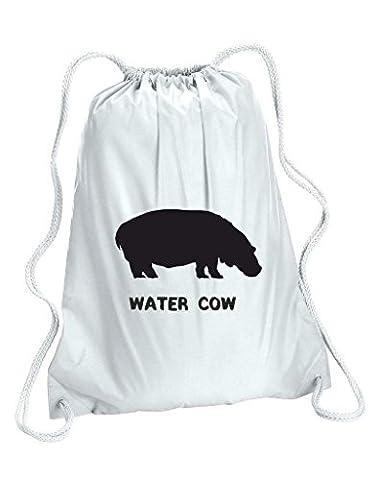Alternative Animal Namen Wasser Kuh Nilpferd Cute Funny Tiermotiv Gymnastikbeutel, Tasche, Schule Gym Sack Einheitsgröße weiß