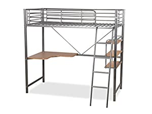 Humza Amani Upton High Sleeper/Study Bunk Bed Frame in Silver Metal Finish