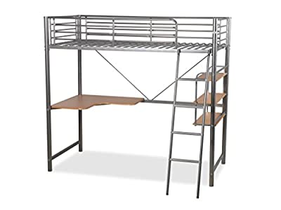 Humza Amani Upton High Sleeper/Study Bunk Bed Frame in Silver Metal Finish - low-cost UK light store.