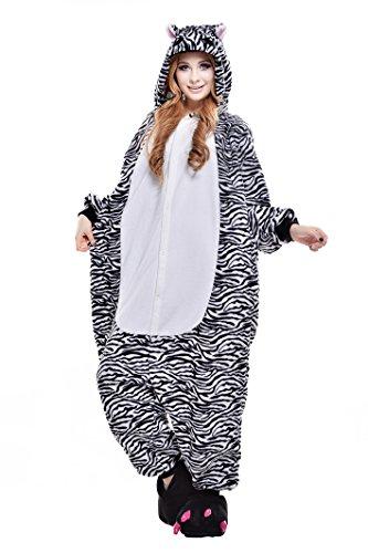 Canasour Pyjamas Kostüm Jumpsuit Tier Schlafanzug Erwachsene Unisex Fasching Cosplay Karneval (M, - Teen Zebra Kostüm