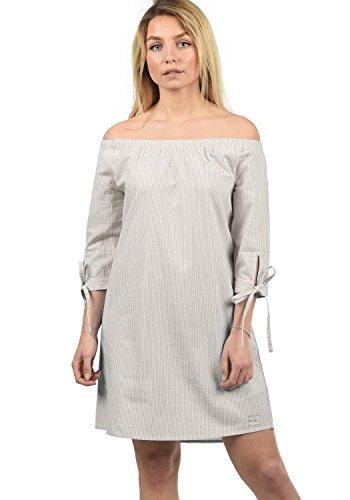 Blend She Ophelia Damen Sommerkleid Kleid Mit Off-Shoulder Carmen- Ausschnitt Aus 100% Baumwolle Knielang, Größe:XL, Farbe:Opal Gray stripe (20058) (Off-shoulder-kleid)
