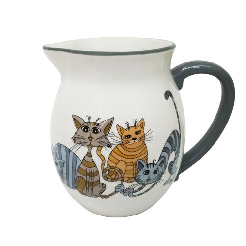 ENESCO Love Cats Krüge Set von 6, 17cm, Keramik, Mehrfarbig, 12.5x 15.5x 17cm, 6Stück -