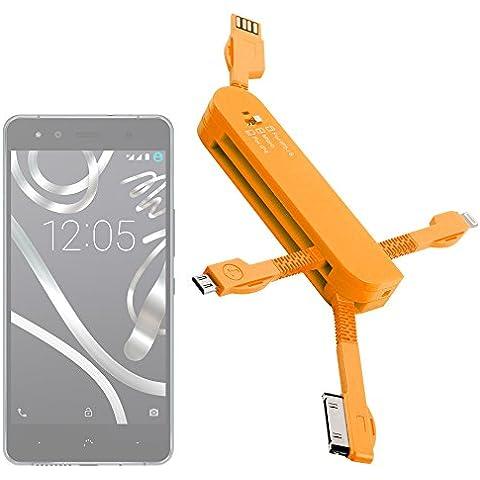 DURAGADGET Multi-Cargador Naranja para Smartphone BQ Aquaris U Lite / U Plus / U / X5 Plus - MicroUSB - Conexiones Apple -