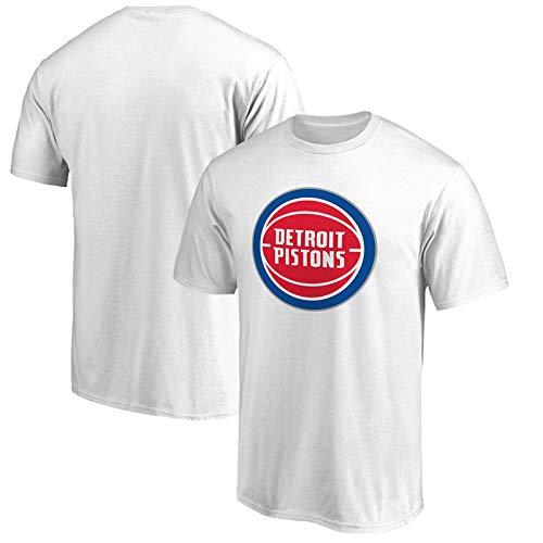 T-shirt NBA Trikot Detroit Pistons Sommer Basketball Kurzarm für Männer und Frauen, weiß, Large