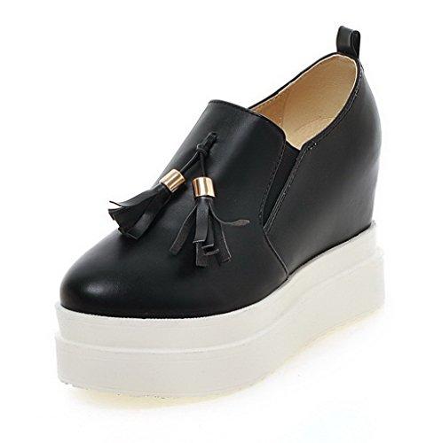 VogueZone009 Femme à Talon Haut Matière Souple Couleur Unie Tire Rond Chaussures Légeres Noir