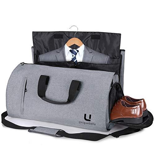 Uniquebella Anzugtasche, Kleidersack Reisetasche Anzugsack Umhängetasche für Herren,Flugzeug, Reisen, Bussiness,Fitness Anzug Garment Gym Bag, Sporttasche für Männer Grau