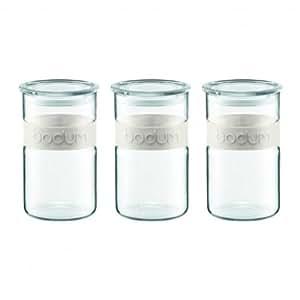 Bodum K11099-913 Coffret 3 bocaux 1 L bande silicone blanche