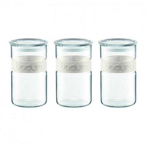 Bodum K11099-913 - Set di 3 barattoli in Vetro con Fascia in Silicone, 1 L, Colore: Bianco