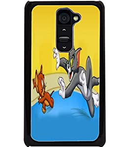 ColourCraft Funny Cat and Rat Design Back Case Cover for LG G2