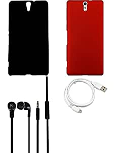 NIROSHA Cover Case Headphone USB Cable for Sony Experia C5 - Combo