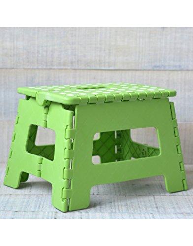 Hogar y Mas Taburete Plegable Robusto y Práctico Color Verde con Superficie Antideslizante en PVC