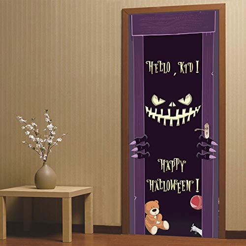 3D Halloween Aufkleber Horror Geist Handabdruck Fledermaus Kürbis Laterne Schädel Home Decoration Paste a 77x200 cm
