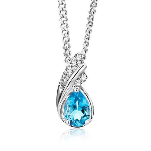Miore Kette - Halskette Damen Weißgold 9 Karat / 375 Gold Kette  Blauer Topas mit  Diamant Brillianten  45 cm