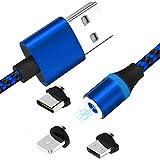 Febelle 360 ° Rotary Intrecciato Magnetica del Cavo di Ricarica USB 2 A Veloce Caricabatterie con Tipo C Compatibile per iPhone Android Blue(3 Teste)