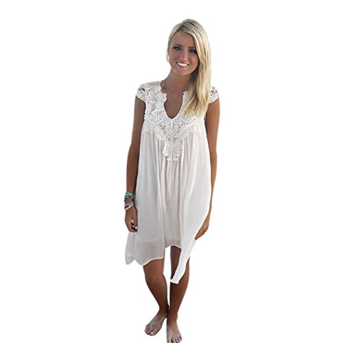 Ba Zha Hei BOHO Ärmelloses Damen Loose Summer Beach Party Club Oberteil Mini Kleider Casual Langes Shirt Lose Cocktailkleid Festlich Partykleid Ärmellos V-Ausschnitt Spitzenkleid (XL, Weiß) (Mini-chiffon-cocktail-kleid)