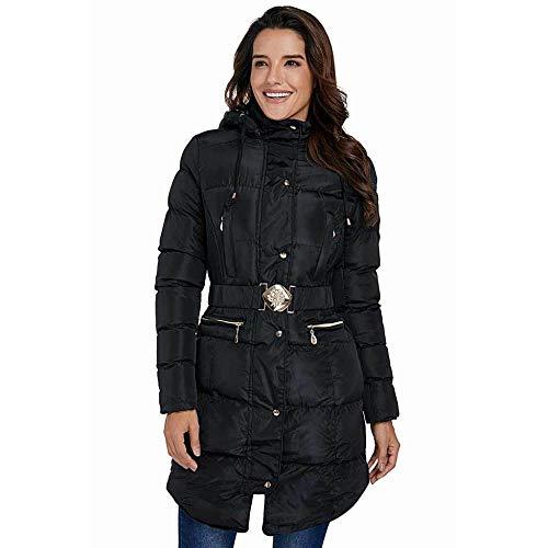 KAIDILA Schwarze Baumwolle gesteppt Longline Kapuzen Mantel Weihnachten Geschenke verdicken Wintermantel Frauen verlieren MIDI-Strickjacke Jacke Hooded Jacket (Gesteppte Strickjacke)