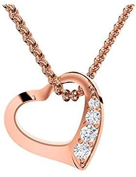 Herzkette Rosegold von AMOONIC mit **SWAROVSKI Zirkonia ** Silber 925 hochwertig vergoldet** Kette Zirkonia Stein...