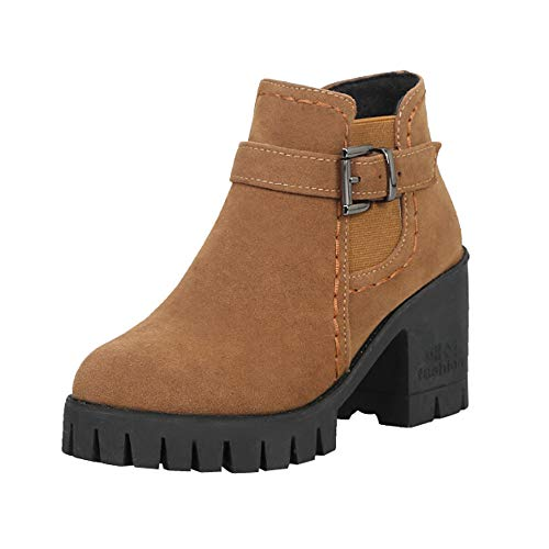 Sneakers, BaZhaHei, Matte Velvet Belt Buckle Half Heel Boots Round Toe Shoes for Woman Buckle Suede Square Belt Half Heels Boots Shoes for Women