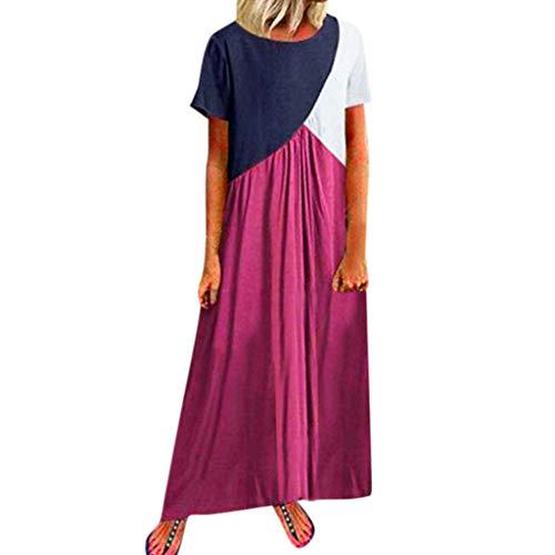 LILIGOD Frauen Beiläufige Langes Kleid Damen Kurzarm Lose Sommerkleid Große Größen Vintage Kleider Boho Maxi Kleid Elegant Partykleider Abendkleider Strandkleider Böhmisches Kleid -