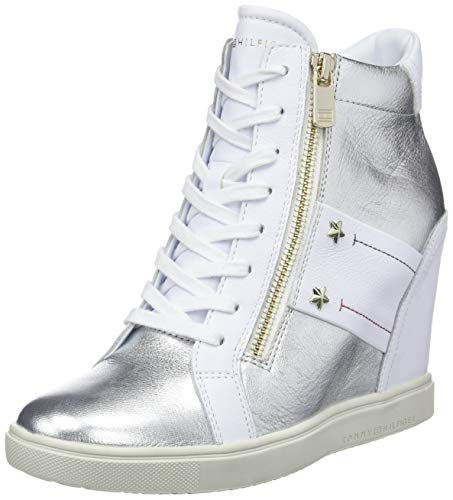 Tommy Hilfiger Damen Tommy Wedge Sneaker, Weiß (White 100), 38 EU