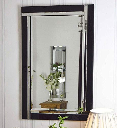 MirrorOutlet Schwarz und Silber abgeschrägten Venezianischer Wandspiegel 3Ft X 2Ft (91x 61cm) -