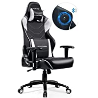 GTPLAYER Gaming Chair with Speakers Bluetooth Music【Patented】 Audio Racing Office Chair Heavy Duty 400lbs Ergonomic Multi-Function E-Sports Chair for Pro Gamer (White)