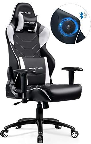 GTPLAYER Musik Gaming Stuhl mit Bluetooth Lautsprecher Audio Racing Stuhl Schreibtischstuhl Ergonomisches Design Bürostuhl Multi-Funktion E-Sports Stuhl (Grau)