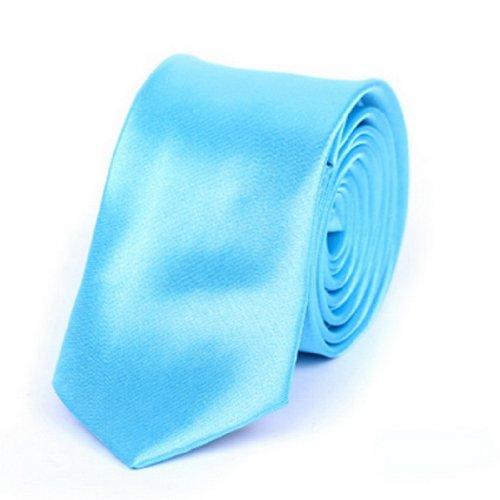 "Y-BOA - Cravate Unie - Homme Modern- Polyester -Slim/Fine- Solide - 2""*56""- Réglable- Costume Mariage Affaires (#10 Azur)"