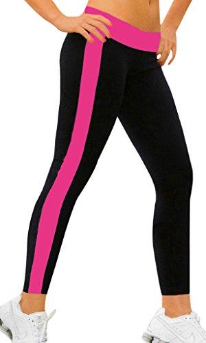iloveSIA Damen Legging Lange Sport Sportswear Schwarz/Rosa Hosen Frauen Running Pants, Größe S