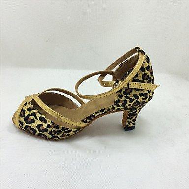 Silence @ pour femme Chaussures de danse latine/salle de bal en satin évasé Talon 7.5cm Hauteur de talon Noir/bleu/rouge/Leopard bleu