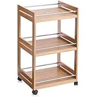 Zeller 13591 - Carrito para baño, bambú y metal (45,7 x 38 x 24 cm) - mueblesdebanoprecios.eu - Comparador de precios