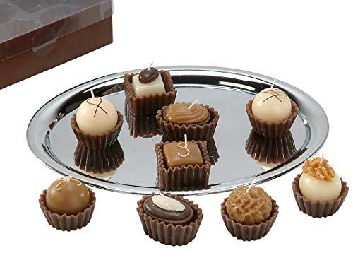 Lifestyle & More Bonitas Velas de té con Velas en Forma de Chocolates Marrones en Paquete de 9 de Altura y 6 cm.