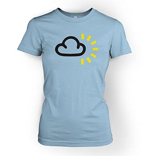 WoHerren Weather Symbol Dark Clouds with Sun t-shirt Light Blau