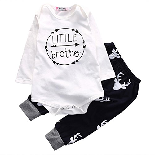 For 0-24M Baby Long Sleeve Clothes Set, Dorame Newborn Boy Letter Print Romper Tops+Pants Outfits Clothes Suit (0-3M, White)
