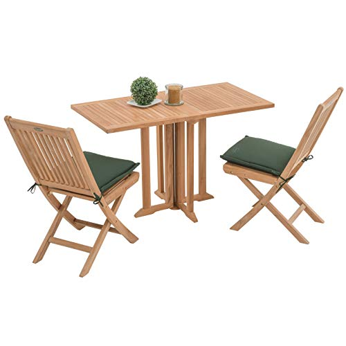 ROG garden-line Teak-Set Chester: Tisch Ibiza 120X60 cm + 2X Stuhl Gin Tonic + 2X Auflage Solo Mini GRÜN