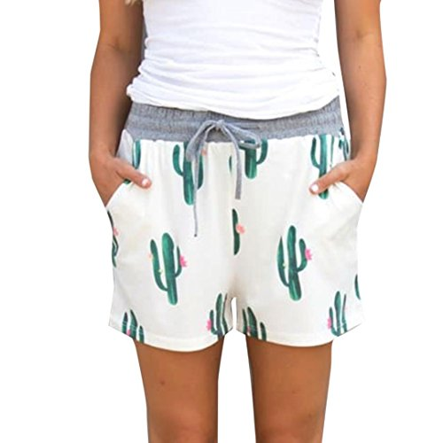 Shorts Damen Sommer High Waist Strandhosen Btruely Kurz Hosen Lose Drucken Strandkleidung Sommer Sportshorts Mini Hot Shorts (S, Weiß)