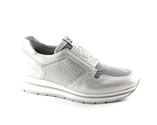 NERO GIARDINI 17231 argento scarpe donna sportive sneakers slip on elastico Bianco