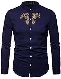 BUSIM Men's Long Sleeved Shirt Autumn Winter Luxury Casual Gold Ethnic Style Embroidery Stand Collar Fashion Slim...