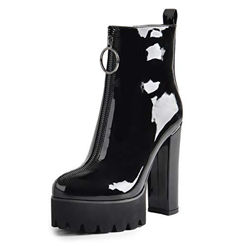 ueme elastische Plattform Stiefel runde Zehe Chunky High Heel Reißverschluss Ankle Booties Schwarz Lackleder Stiefeletten für EU43 ()