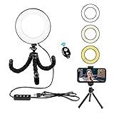 Rhodesy Kit de Luz Anillo Selfie de 6' con Soporte de Trípode para Transmisión en Vivo/Maquillaje/Video en YouTube Luz de Anillo de Belleza Regulable+Control Remoto Bluetooth USB, Cualquier Smartphone