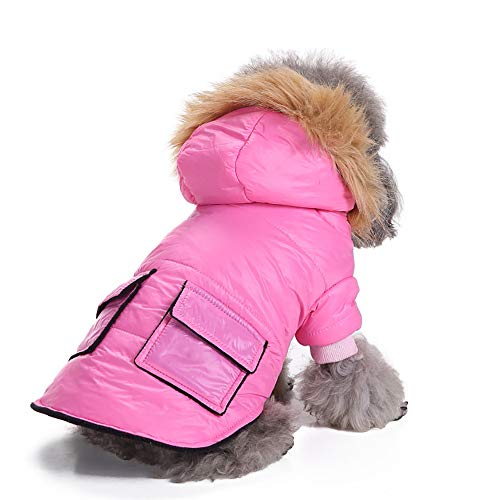 Fenverk Wasserdicht Haustier Hund Kleider Winter Warm Gepolstert Mantel Weste Jacke Atmungsaktiv Weich Luft HüNdchen Geschirr Katze Kleidung KostüM Bekleidung Künstliches Fell(Rosa,M)