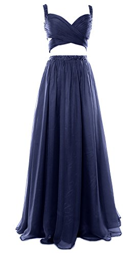 MACloth Women 2 Piece Long Prom Dress Chiffon Sexy Homecoming Party Formal Gown Dark Navy