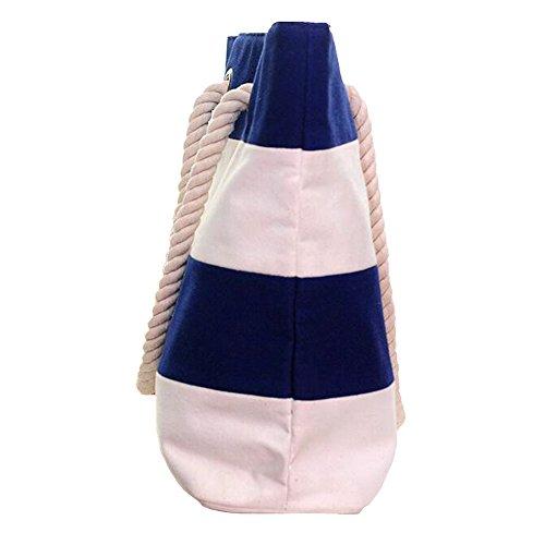 GSPStyle Unisex Canvas Schultertasche Shopper Streifen Strandtasche Henkeltaschen Blau