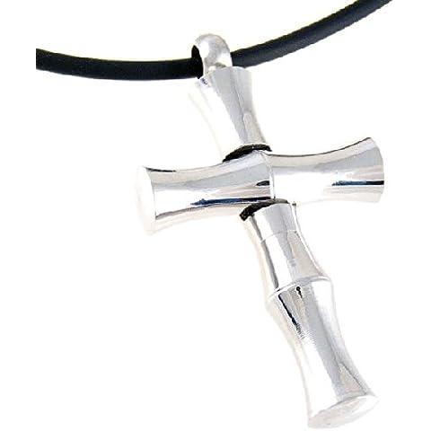 Collana con ciondolo a forma di croce, in acciaio inossidabile con camera segreta e (Bamboo Croce Pendente)