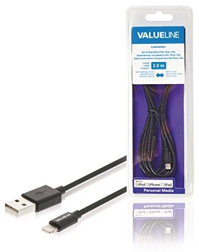 ations- und Ladekabel für iPad/iPhone/iPod, Apple Lightning-USB 2.0A Stecker, schwarz 2,00m ne550636516 ()