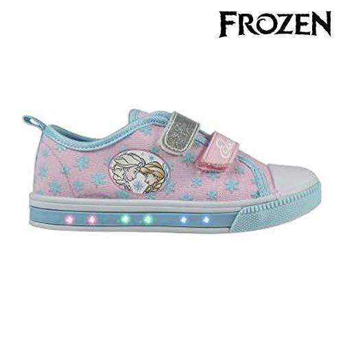 Zapatillas loneta Velcro con Luz Frozen T.28