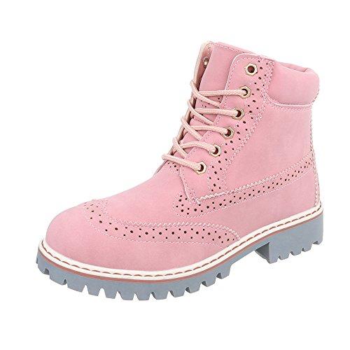 Ital-Design Schnürstiefeletten Damen-Schuhe Schnürstiefeletten Blockabsatz Schnürer Schnürsenkel Stiefeletten Pink, Gr 41, H925-