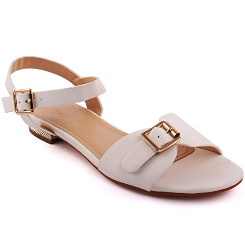 Unze Caroline' Sling Indietro estate Beach Party nuove donne Get Together Carnevale piano casuale sandali UK Size 3-8 Bianco