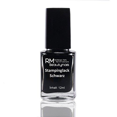 Stampinglack Schwarz 12ml Stamping Lack Nagellack Nail Polish RM Beautynails - Konad Platten Set