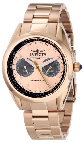 INVICTA 14708 – Reloj de cuarzo para mujer, correa de acero inoxidable chapado color oro rosa
